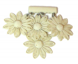 196014  Early Celluloid Dangle Floral Brooch - Product Image