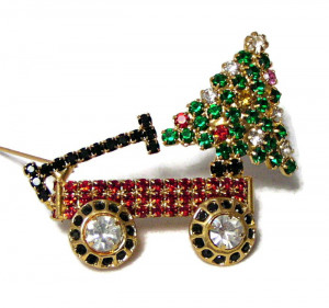 196019  Holiday Wagon & Tree Brooch - Product Image