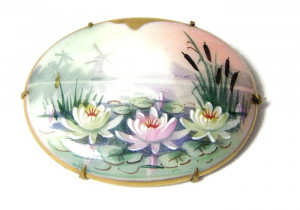 196021  Hand Painted Porcelain Brooch - Product Image