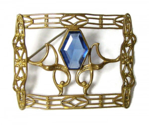 196024  Elaborate Sash Pin with Faceted Stone - Product Image