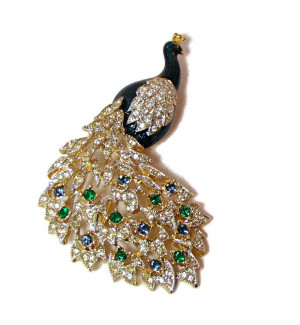 1960256  Rhinestone Adorned Enamel Peacock Pin - Product Image