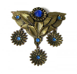 196026  Dimensional Cobalt Blue Dangle Brooch - Product Image