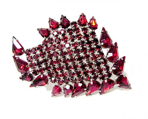 196033  Large Abstract Red Rhinestone Brooch - Product Image