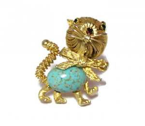 196043  Spaghetti Wire Kitty Pin with Rhinestone Accents - Product Image