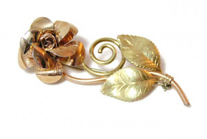 196044  Krementz Gold Filled Rose Brooch