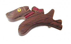 196049  Sprinting Wooden Dog with Glass Eye - Product Image