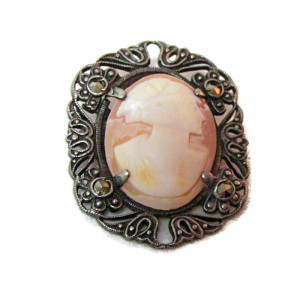 196053  Sterling Shell Cameo with Prong Set Marcasite - Product Image