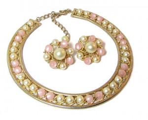 196067  Hobe Moonglow & Pearl Necklace & Ears - Product Image