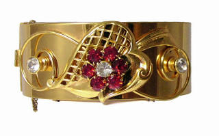 196118  Wide Iskin GF Bangle with Red Rhinestone - Product Image