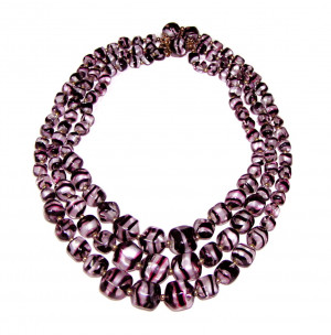 196165  Triple Strand Purple Zebra Bead Necklace - Product Image