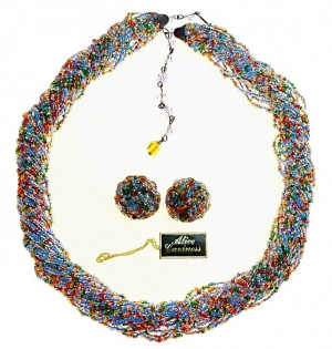 20300102  Caviness Confetti Seed Bead Necklace & Ear Clips - Product Image