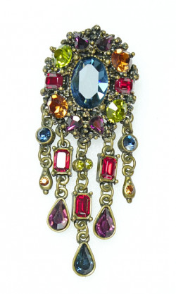 20300116  Sweet Romance Rich Rhinestone Dangle Brooch