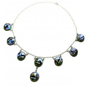203002  Art Deco Sterling Butterfly Wing Necklace