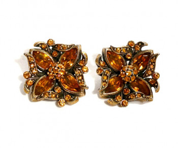 2030068  Citrine Rhinestone Ear Clips - Product Image