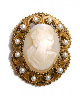 2030076  Florenza Carved Shell Cameo Pin/Pen - Product Image