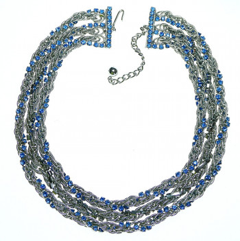 2040039  Caviness Multi-Strand & Blue Rhinestone Necklace - Product Image