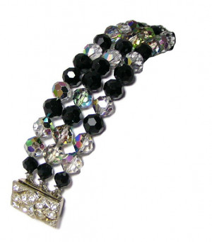 196066  Flashy AB Crystal Triple Strand Bracelet with Rhinestone Clasp - Product Image