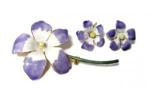 196074  Sandor Lavender Enamel Floral Pin & Ears - Product Image