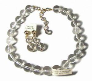 "196117  Vintage ""Genuine Plexiglass"" Necklace and Earrings - Product Image"