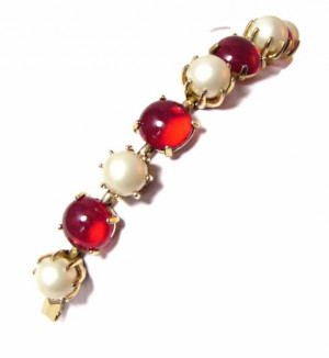 195159  Pearl & Glass Cabochon Bracelet - Product Image