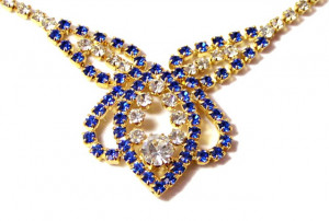 196101  Prom Perfect Blue Rhinestone Necklace, Bracelet & Earrings - Product Image