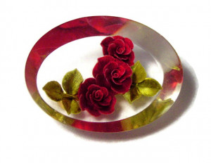 196104  Rose Bloom Trio in Lucite Brooch - Product Image