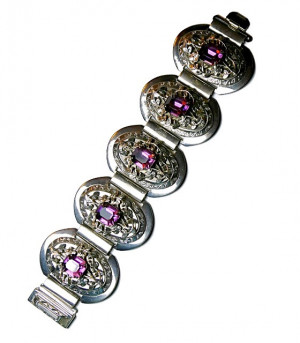 196210  Ornate Purple Rhinestone Bracelet - Product Image