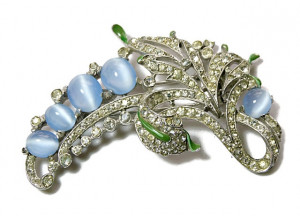 196224  Crown Trifari Moonglow & Enamel Fur Clip - Product Image