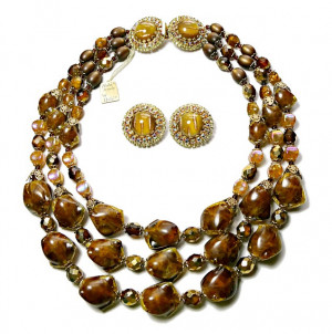 1960217  Hobe Triple Strand Necklace & Ear Clips  - Product Image