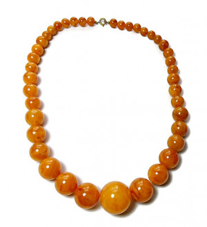 196203  Graduating Faux Amber Plastic Bead Necklace - Product Image