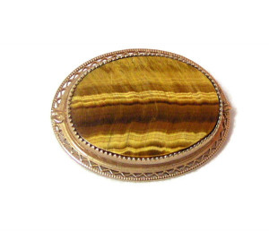 195220  Polished Tiger's Eye Gold Filled Pin - Product Image