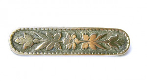 195227  Antique Embossed Sterling Bib Pin - Product Image