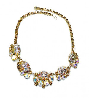 2030010  Aurora Borealis Rhinestone & Pressed Glass Necklace - Product Image