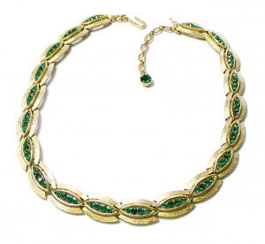 2030018  Crown Trifari Emerald Green Rhinestone Choker - Product Image