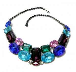 2030012  Unsigned Thelma Deutsch Multi-Color Rhinestone Collar - Product Image