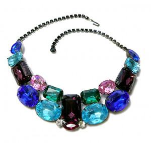 2030012  Unsigned Thelma Deutsch Multi-Color Rhinestone Collar