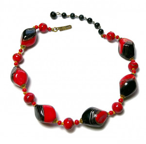 2030013  Red, Black & Gold Lampwork Bead Choker - Product Image