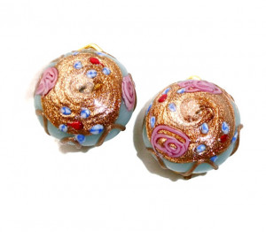 195142  Lampwork Wedding Cake Ear Clips - Product Image