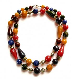 2030088  Faux Granite Bead Necklace