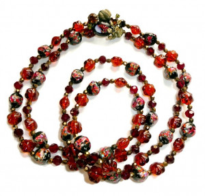 2030087  Fancy Glass Double Strand Bead Necklace