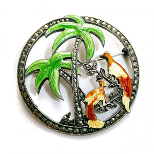 2030083  Sterling, Marcasite & Enamel Tropical Brooch - Product Image