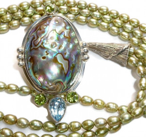 2030078  Abalone, Pearls & Semi Precious Necklace - Product Image