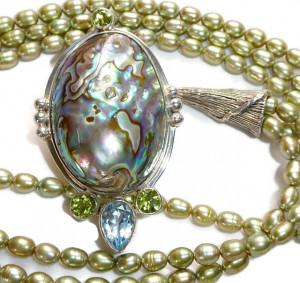 2030078  Abalone, Pearls & Semi Precious Necklace