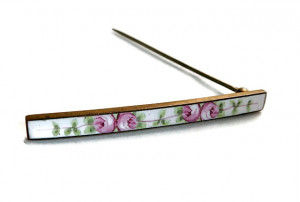 2030092  Enamel Guilloche Bar Pin - Product Image