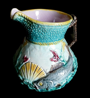 9130099  Antique English Majolica Shell & Fish Pitcher - Product Image