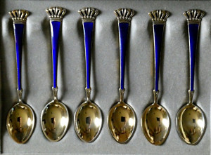 Sorenco Gold Washed Sterling & Enamel Demitasse Spoon Set - Product Image