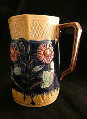 1030363  Antique Majolica Floral Pitcher - Product Image
