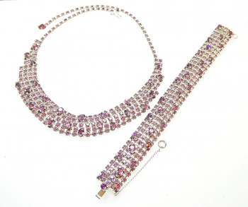 2040034  Caviness Rhinestone Necklace & Bracelet in Amethyst  - Product Image