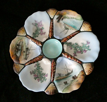 RWOP0002  Antique French Nautical Oyster Plate - Product Image