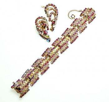 2040042  Flashy Aurora Red Rhinestone Bracelet & Ears - Product Image